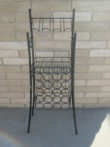 Vtg Mid Century Modern Eames Style Tall Wrought Iron Wall Unit Wine Rack Cool