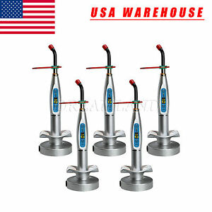 5pcs Wireless Dental Led Cure Curing Light Lamp Silver Color Us Stock Uy 7 u