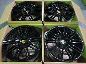 21 Porsche Panamera S Turbo Gts 2018 Hybrid Wheels Rims Glossy Black Set Of 4