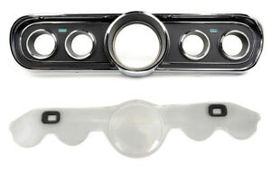 New 1966 Ford Mustang Instrument Bezel Cluster Standard Black With Lens Set