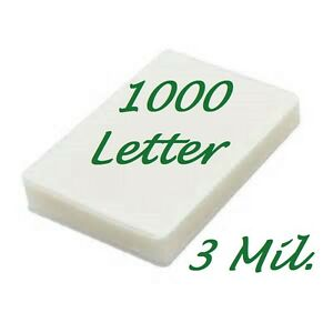 Letter Thermal Laminating Laminator Pouches 1000 9 X 11 50 3 Mil Free Carrier s