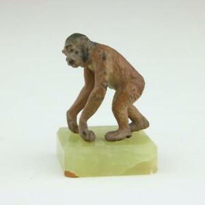 Antique Vienna Bronze Monkey On Base Austrian Cold Painted Rare Antique