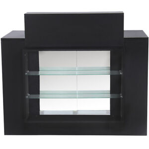 Salon Barber Beauty relay Receptionist Desk Glass Display Pearl Black Rd 10blk