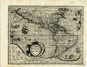 1607 Genuine Antique Map N S America Huge S Continent By Mercator Hondius
