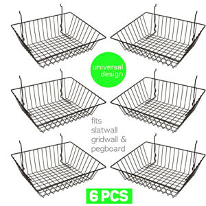 Set Of 6 Baskets Designed For Gridwall Slatwall And Pegboard Black