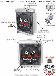 3 Row Racing Champion Radiator W 16 Fan For 1954 1955 1956 Ford Cars