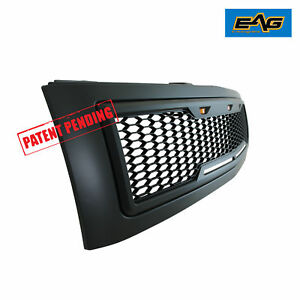 Eag 07 13 Chevy Silverado 1500 Grille Matte Black Front Hood Abs Led With Shell