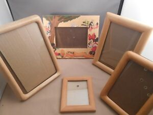 Vintage Picture Frames Oak Pine Wood Assorted Lot Of Four 5 Mickey Mouse 5x7