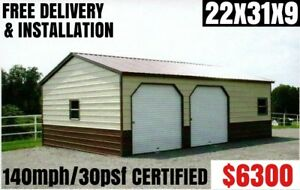 Metal Building Carport Rv Cover Barn Steel Garage Utility Shed Car Canopy