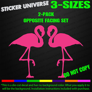 Pair Of Pink Flamingos Left Right Facing Funny Car Window Decal Sticker 0131