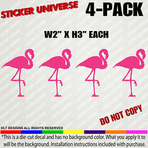 4 pack Mini s Pink Flamingos Funny Small Decal Stickers For Tumblers Phones 0131