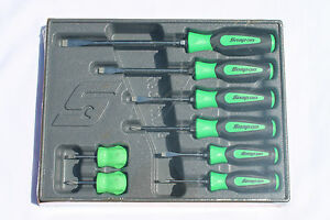 Snap On Tools Screwdriver Set 8 Pc combination Soft Handle Green Sgdx80bg New