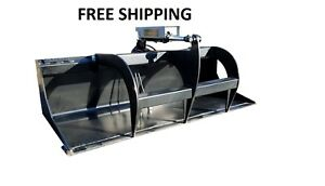 New 66 Powder Coated Smooth Bucket Grapple Skid Steer Loader Free Shipping