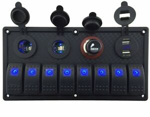 Iztoss 12v 24v Dc 8 Gang Waterproof Marine Blue Led Switch Panel With Double Led