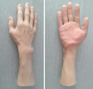1 Pair Soft Silica Male Hand Mannequin Props Display Right Left Hand Skin Colour