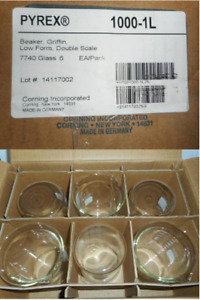 Box Of 6 Pyrex Beaker Griffin Low Form Double Scale 1000 1l 7740 Glass