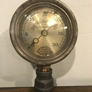 rare Early 1899 J P Marsh 4 Steam Gauge Industrial Antique Smith thayer Co