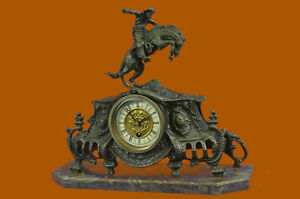 Bronco Buster Solid Bronze Collectible Sculpture Statue By F Remington Clock