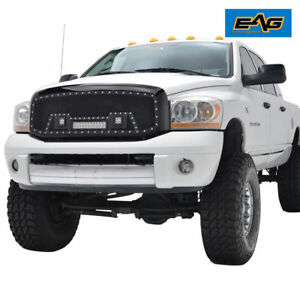 06 08 Dodge Ram 1500 Grille Rivet Black Ss Wire Mesh With Shell And Led Lights