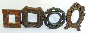 Old Wooden Unique Hand Carved Picture Photo Frame Collectible Art Lot Of 4