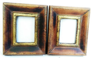 Old Wooden Unique Hand Crafted Brass Fitted Picture Photo Frame Art Lot Of 2