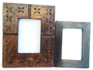 Vintage Old Wooden Hand Carved Brass Fitted Picture Photo Frame Lot Of 2