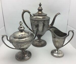 Antique Watson Navarre Sterling Silver 3 Piece Coffee Service 9403