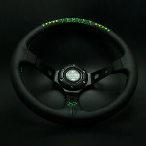 320mm Vertex Leather Steering Wheel Deep Dish For Momo Hub Drifting Green Stitch
