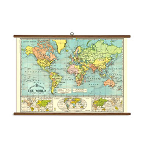 Cavallini Papers World Map Wall Hanger Vintage School Chart Office Living Space