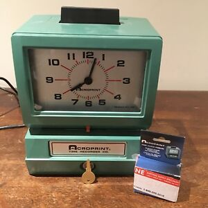 Time Recorder Acroprint 125nr4 Punch Clock C w Key Ribbon