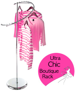 Semi Spiral Boutique Clothes Rack Elegantly Displays Over Two Dozen Garments