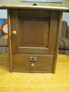 Antique Cabinet Cupboard Wood Wall Hanging Butternut