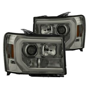 New Set Of 2 Led Optic Tube Projector Headlights Smoke For Gmc Sierra 07 13 Pair