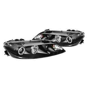 New Set Of 2 Led Halo Drl Projector Headlights Black For Mazda 6 2003 2006 Pair