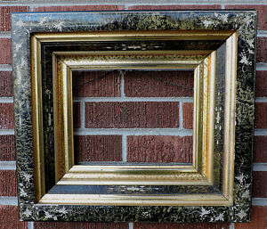 Victorian Eastlake Incised Sponged Black Gilt Gold Deep Well Frame 8 X 10 1870s