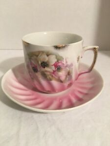 Hand Painted Tea Cup And Saucer Fine Bone China Flowers W Gold Trim