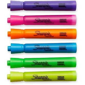 Sharpie 25145 Tank Highlighters chisel Tip fluorescent 4 Pack Of 12 Count 48