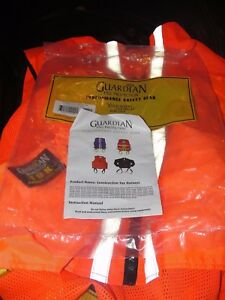 Guardian Construction Safety Tux Work Vest Harness Fall Protection Large Orange