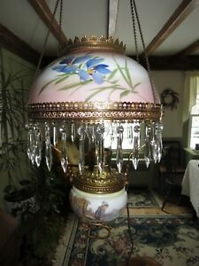 Antique Oil Lamp Chandelier Converted To Electric