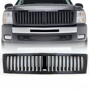07 13 Chevrolet Silverado 1500 Grille Abs Vertical Replacement Glossy Black