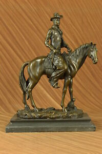 Clearance Sale Western Cowboy With Hat Riding Horse Bronze Sculpture Figure