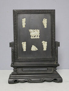 Chinese Carved Jade Insert Table Screen With Wood Stand M2318