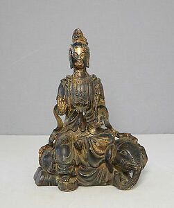 Chinese Antique Bronze Statue Of Kwan Ying On The Elephant M2022