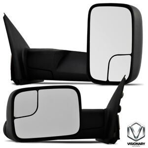 New Set Of 2 Driver Passenger Manual Towing Mirrors For Dodge Ram 2002 2009