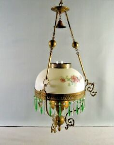 P A Oil Chandelier Hanging Hand Painted Glass Green Crystals Antique