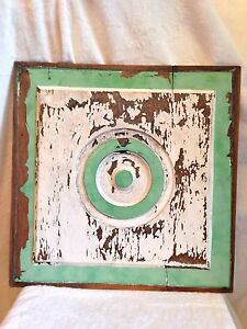 Vintage Shabby Chic Old Paint Cupboard Panel 17 Sq Great Wall Hanging