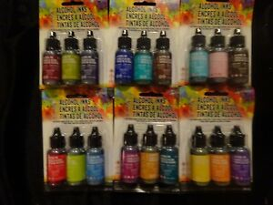 Lot Of 6 Tim Holtz Adirondack 3 Pk Alcohol Ink Multi Surface 18 Bottles Last Lot