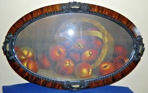 Victorian Large Wood Oval Frame With Brass Or Bronze Accents And Print Of Apples