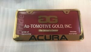 New Metal Acura License Plate Frame Gold Engraved