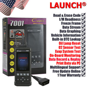Launch Creader 7001 Full Obdii 2 Scanner Code Reader Eraser Oil Reset Scan Tool